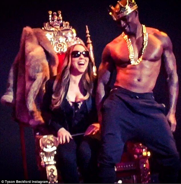 Fantasy: Mariah Carey was treated to a lapdance by Tyson Beckford during a Chippendales show in Las Vegas on Friday