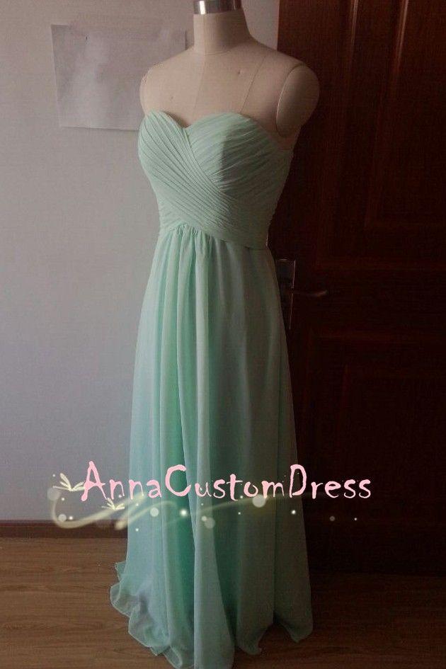 Strapless Long Mint Chiffon Bridesmaid Dress