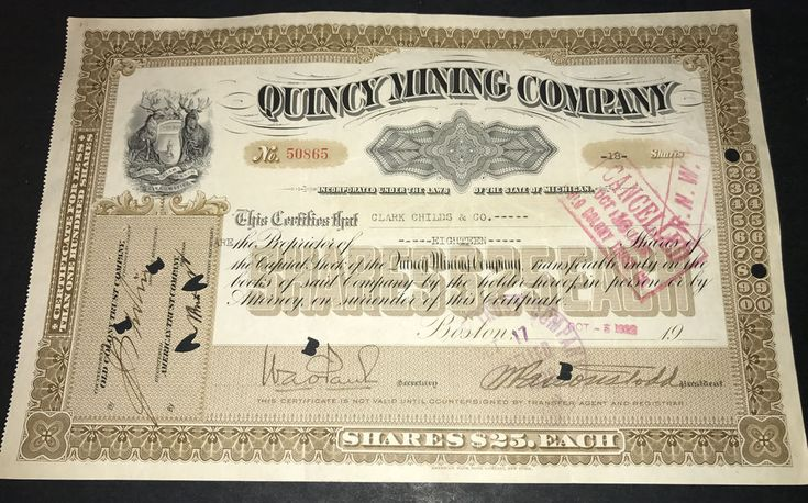 Quincy Mining Company Stock Certificate Michigan 1922