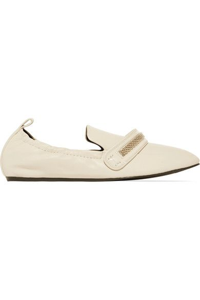 Slight heel  Ecru leather  Slip onSmall to size. See Size & Fit notes.