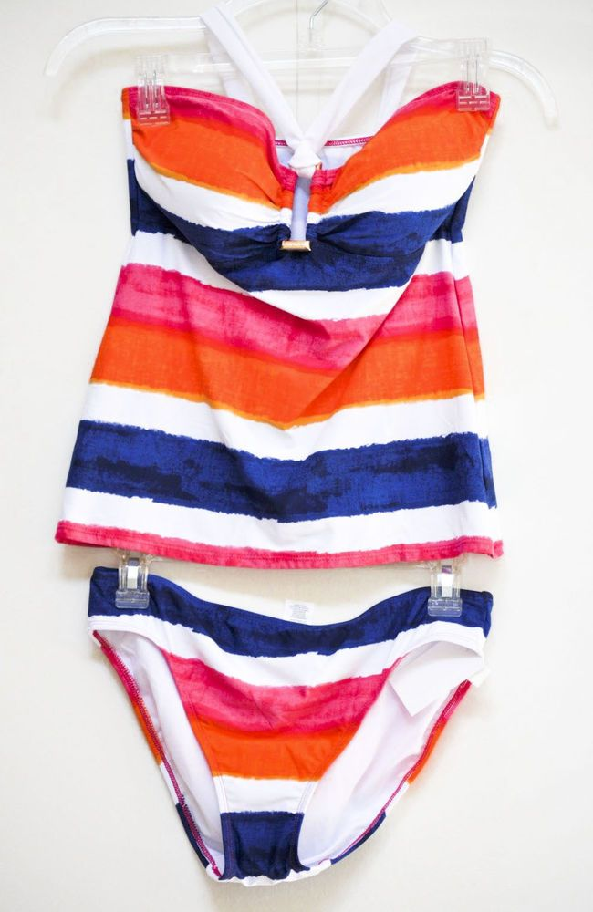 Lauren Ralph Lauren Women Tankini Swim Handpainted Striped Ring size 8 NWT #RalphLauren #Tankini