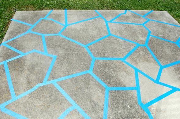 Concrete Patio Faux Slate W I P Painted Concrete Floors Painted Patio Concrete Patio