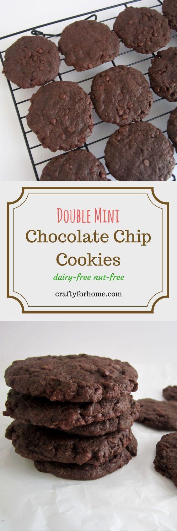 Double Mini Chocolate Chip Cookies #dairyfreecookies #christmascookies #chocolatechipcookies for full recipe on craftyforhome.com