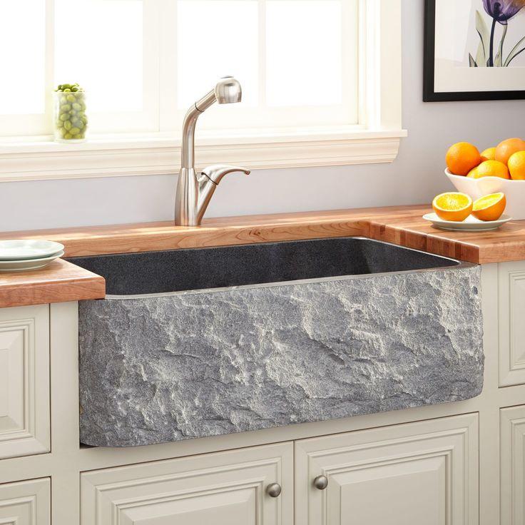 "36"" Polished Granite Farmhouse Sink - Chiseled Apron - Blue Gray"