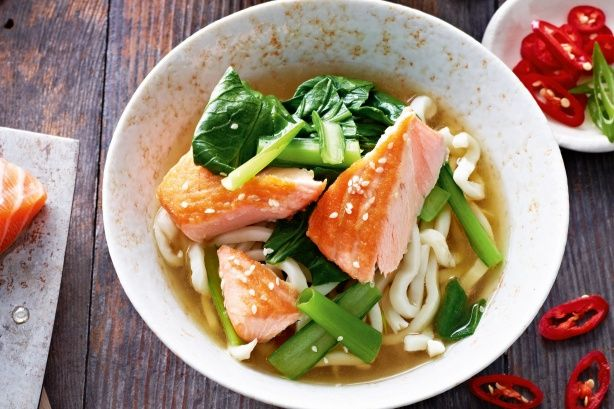 A little miso, Asian greens and fresh salmon combine in a speedy Japanese-style soup.