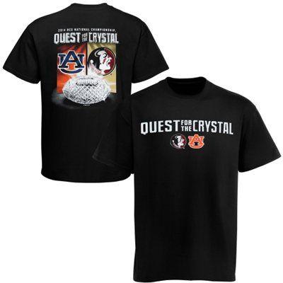Auburn Tigers vs. Florida State Seminoles (FSU) 2014 BCS National Championship Game Crystal Quest Dueling T-Shirt - Black
