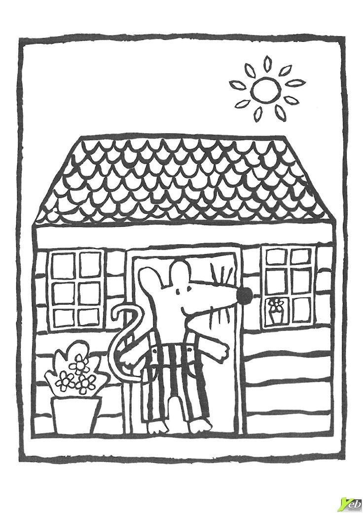 Mimi dans sa maison : coloriage