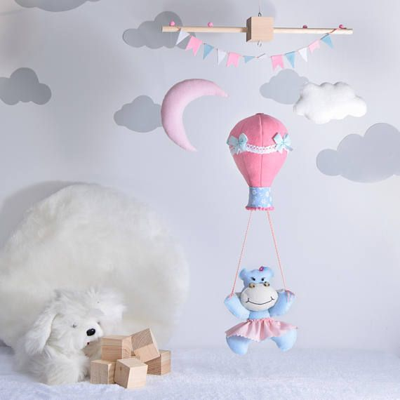 giostrina neonata ippopotamo  mongolfiera rosa/decoro