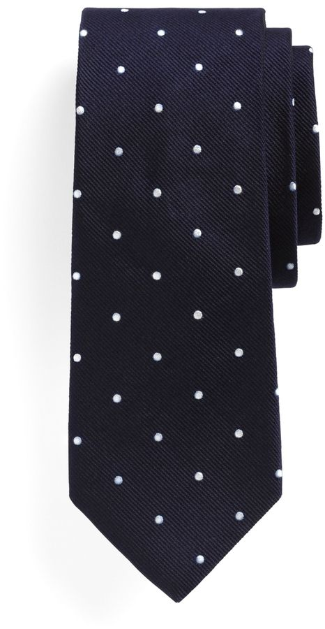 $79, Navy Polka Dot Tie: Brooks Brothers Dot Slim Tie. Sold by Brooks Brothers. Click for more info: https://lookastic.com/men/shop_items/2383/redirect