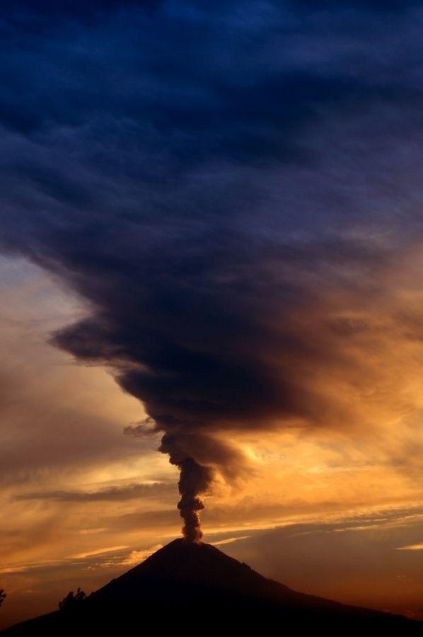 Volcano with big smoke