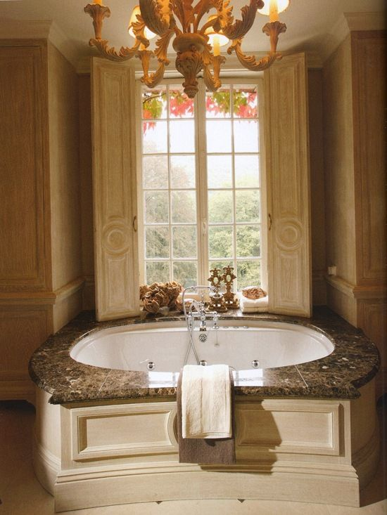 Luxurious tub with oak paneling i would like this please for Beautiful bathrooms magazine