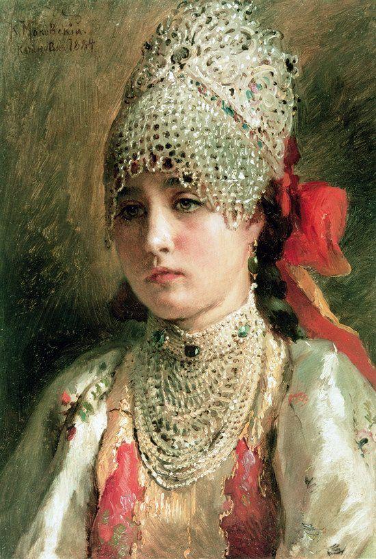 Russian beauty, Konstantin Makovsky painting 22