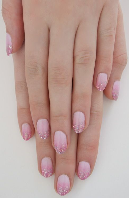 Pink ombre with glitter tips