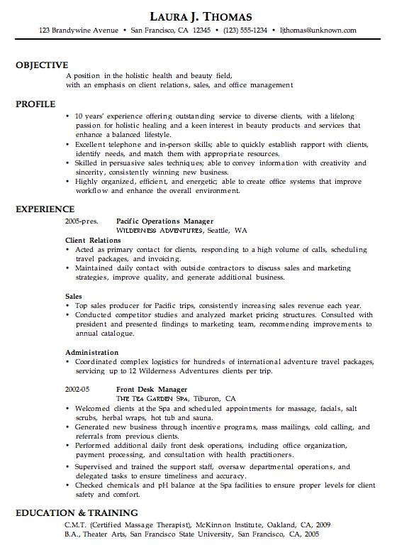 combination resume sample holistic health beauty