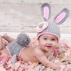 Bunny Grey Pink Handmade Photography Diaper Set (0 to 6 months)