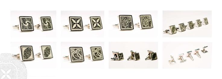 bone and silver cufflinks