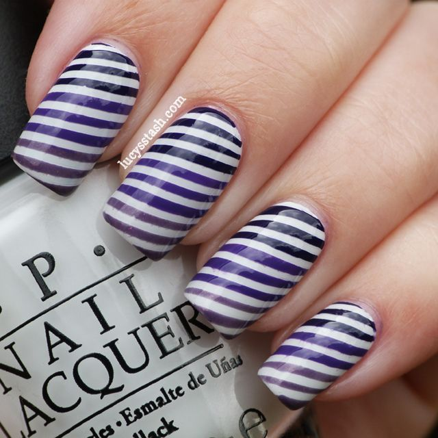 Lucy's Stash - Gradient purple stripes nail art - 25+ Unique Striped Nail Art Ideas On Pinterest Hibiscus Nail Art