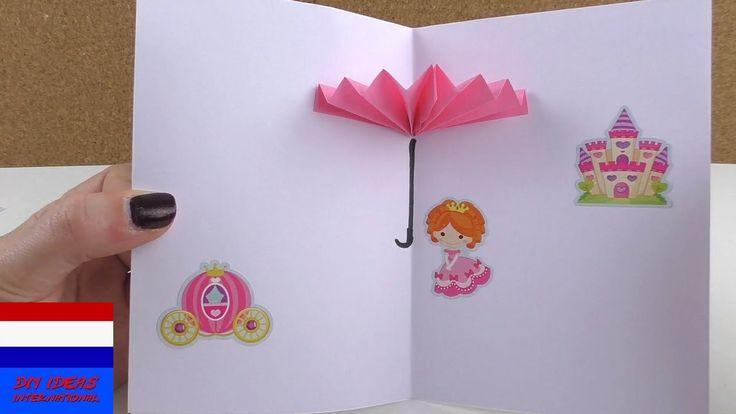 3D-kaart met paraplu zelf maken | origami | Nederlands | knutselen