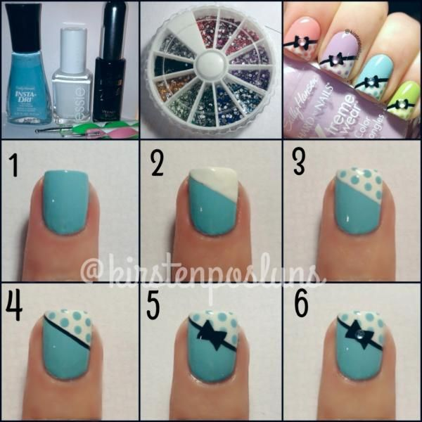 Nail Art How To: Pastel French Polka Dotted Bow Nails using Essie, Sally Hansen, and Rhinestones!