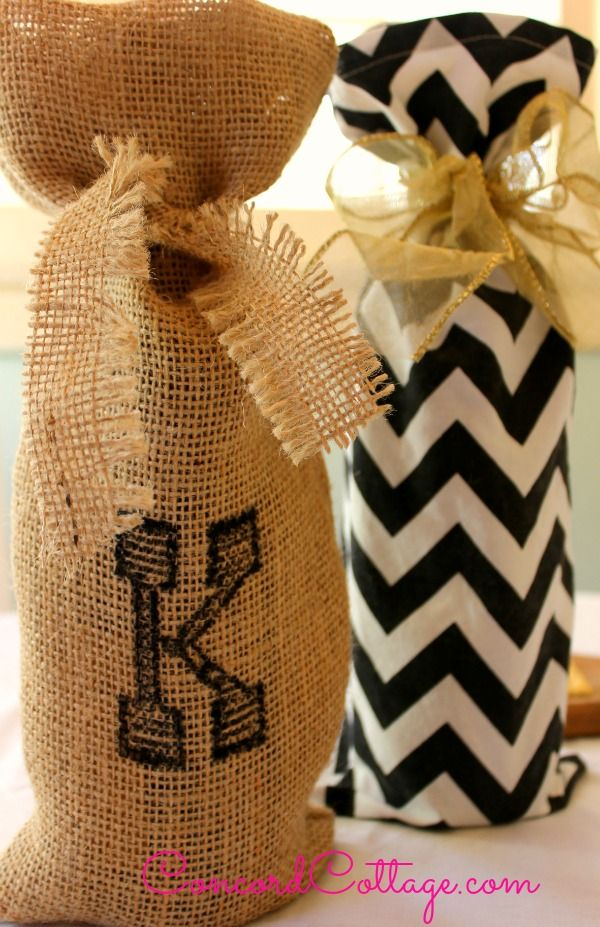 personalized diy burlap wine gift bags