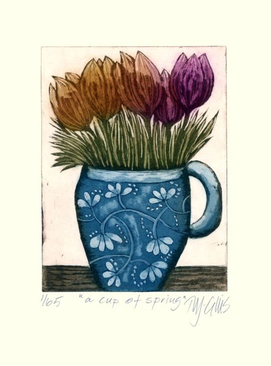 Buy a cup of Spring, aquatint etching, Etching / Engraving by Mariann Johansen-Ellis on Artfinder. Discover thousands of other original paintings, prints, sculptures and photography from independent artists.