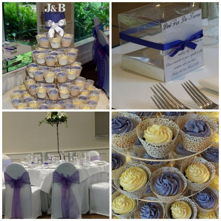 Purple and white theme wedding cake and cupcakes.