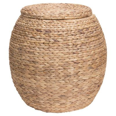 Features:  -Charming woven water hyacinth storage basket that can also be used as a seat.  -Thick water hyacinth reeds create a large braided weave for a beautiful and striking wicker.  -Versatile des