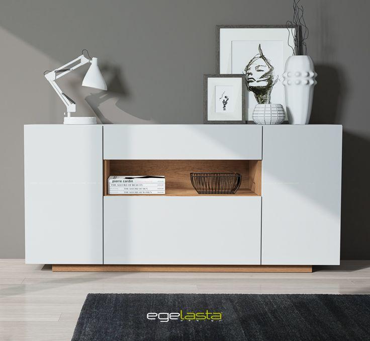 Egelasta · Mueble · Moderno  · Madera · Mobiliario de hogar · Catálogo New Live · Día · Comedor · Aparador · Laca blanco y roble siroco