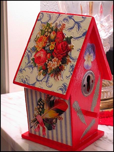 decoupaged birdhouse