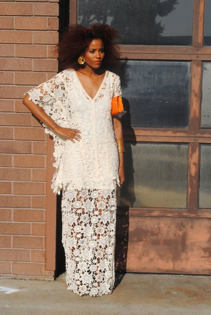 Bohemian Lace Crochet Hippie Wedding Dresses crochet lace KAFTAN dress