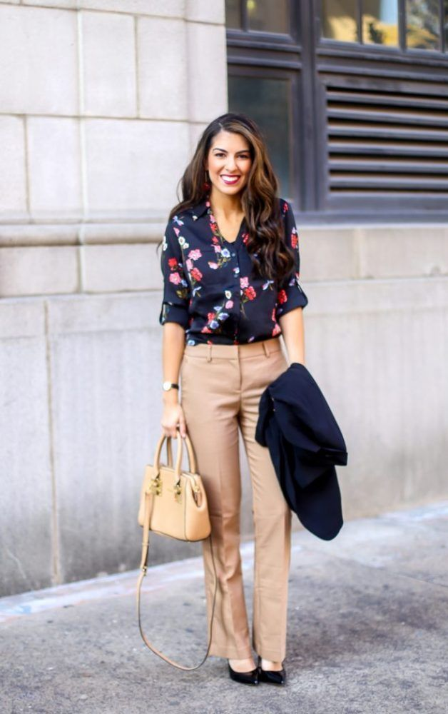 aa100f5cfbb Floral Blouse for Work and Work Wear Outfit. Work Wear. Work Outfits.  Outfits for Work. Professional Outfits. Floral blouses. Work Pants.