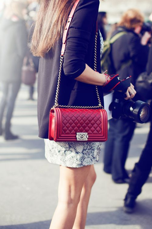 Chanel Boy Bag. Damn it, I want the red one but yeah my mom said she prefers the blue/navy/whatever. And me still want the red one.