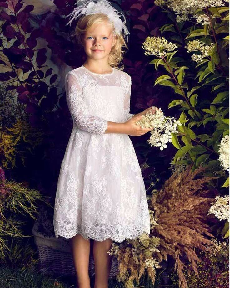 2016 fashion First Communion Dresses for Girls A Line White Lace Appliques Long Sleeve Flower Girl Dresses for Weddings