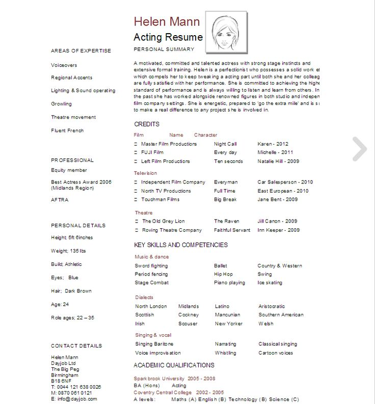 Best 25+ Acting resume template ideas on Pinterest Free resume - example of artist resume