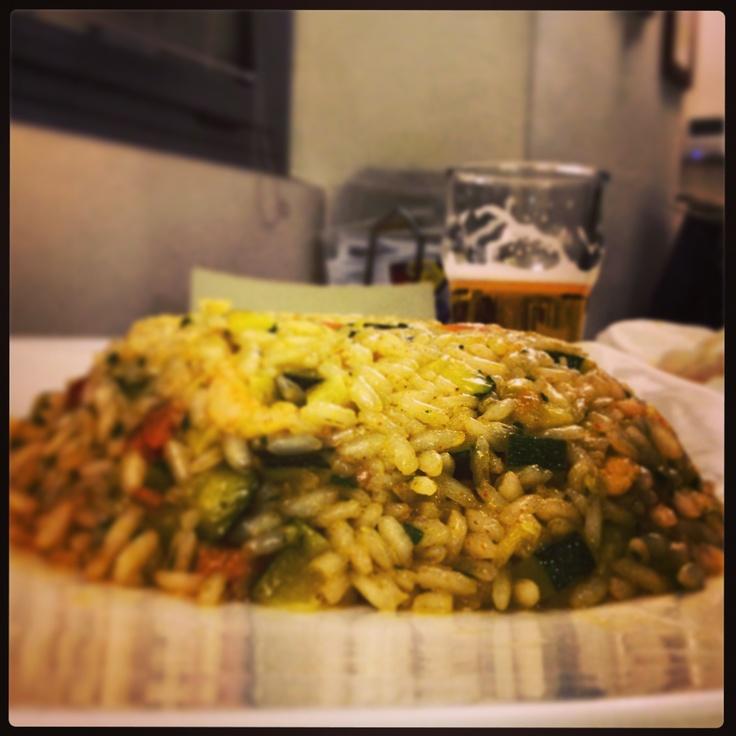 #risottino alle verdure, con #birra sullo sfondo, ideale per #cenetta romantica!  #marechiaro #ristorante #Casale