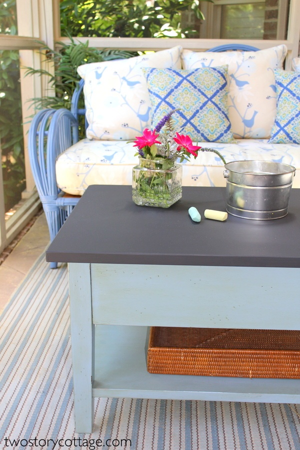 chalkboard paint coffee table by two story cottage