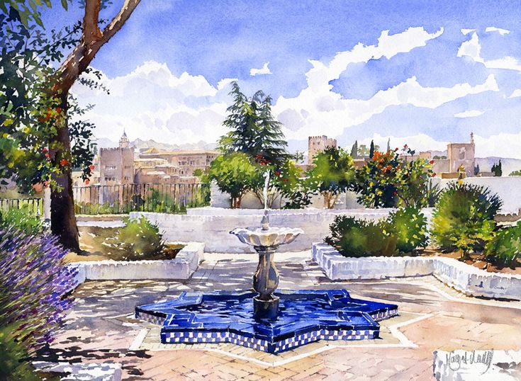 The Alhanbra from the Mezquita in Summer