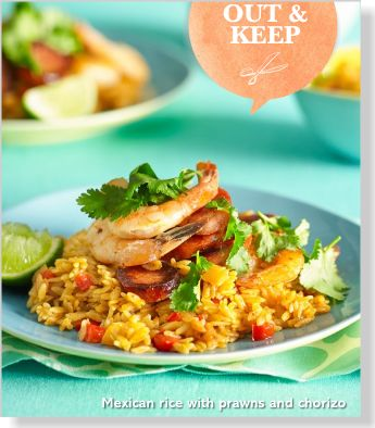 Rice with prawns & chorizo. Clipped from Better Homes and Gardens using Netpage.