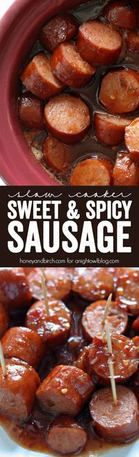 Our Slow Cooker Sweet Spicy Sausage is the perfect blend of sweet, spicy and smoky and is sure to be your new favorite appetizer!