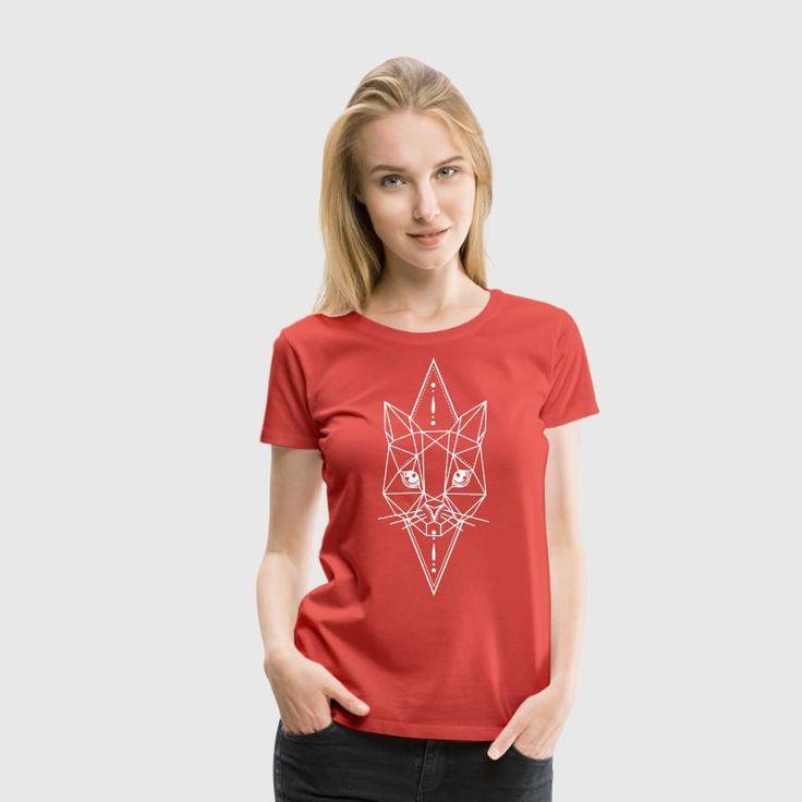 hellig geometri katt svart kattunge - Premium T-skjorte for kvinner