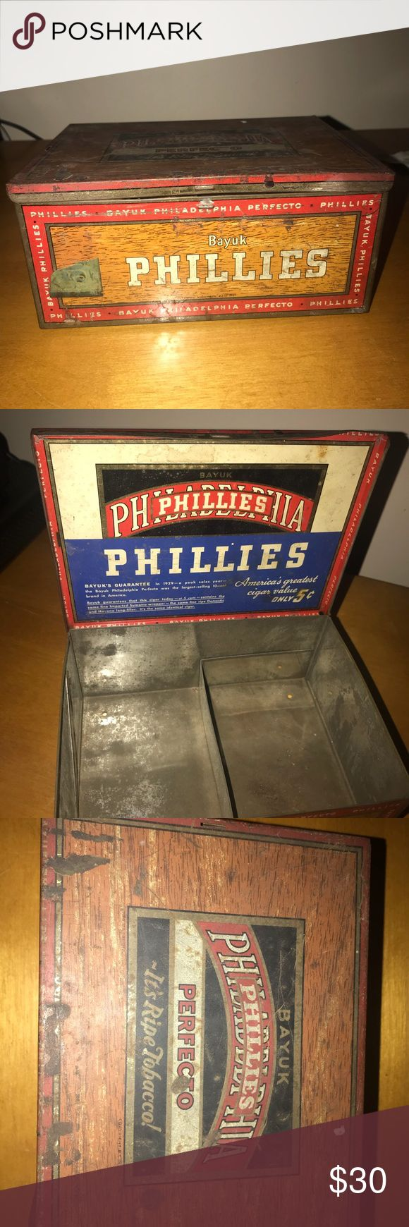 Antique Philadelphia Phillies Cigar Tin Box Antique 1920's  Super cool Philadelphia Phillies cigar tin. In very good condition. Smoke and pet free home. Accessories