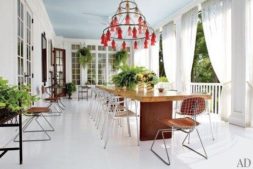 Vinterhage med langt spisebord, plass til 20 mennesker. deilige ...
