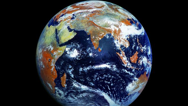 An image of the Earth taken by the Russian weather satellite Elektro-L No.1. (NTSOMZ)