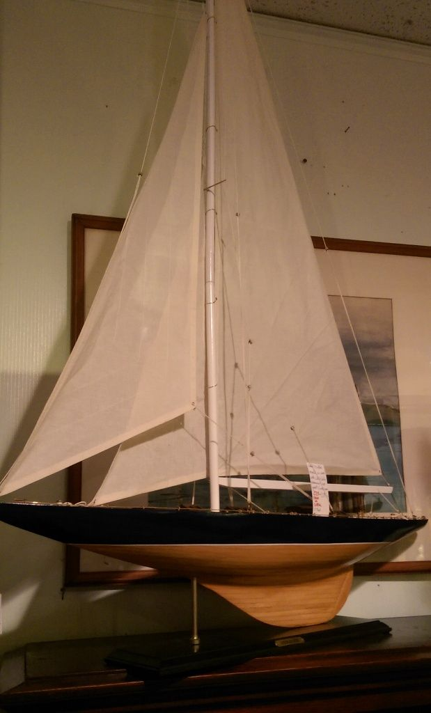 Handcrafted Of Wood With Cloth Sails Pond Sailor Model