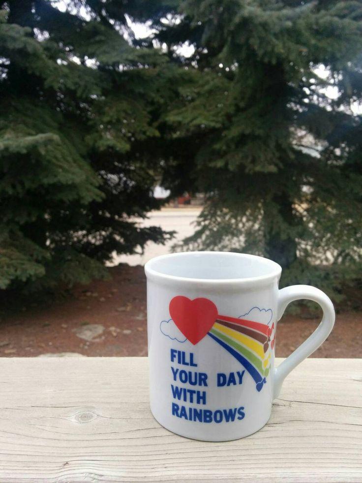 1980s Mug. Rainbows. Music Notes. Hearts. Novelty Gifts by BambooBimbo on Etsy