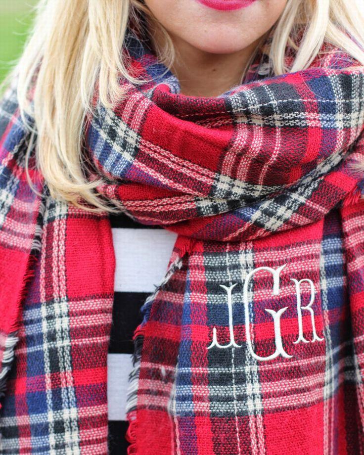 Monogrammed Plaid Blanket Scarf www.stacybrowndesigns.com