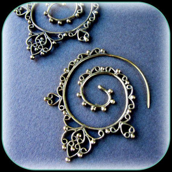 Brass or Silver Tribal Spiral Earrings  like by TalismanaDesigns, $40.00