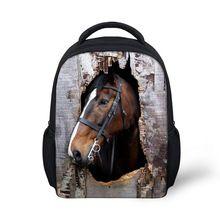 12 polegada enfants sacs d'école petit cheval Animal 3D impression garçons cartable maternelle cartables Mochila enfants Bookbag Sac à Dos(China (Mainland))
