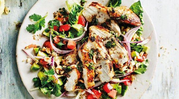 Griddled chopped chicken salad