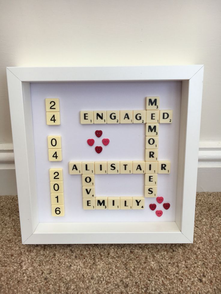 Engagement present scrabble art